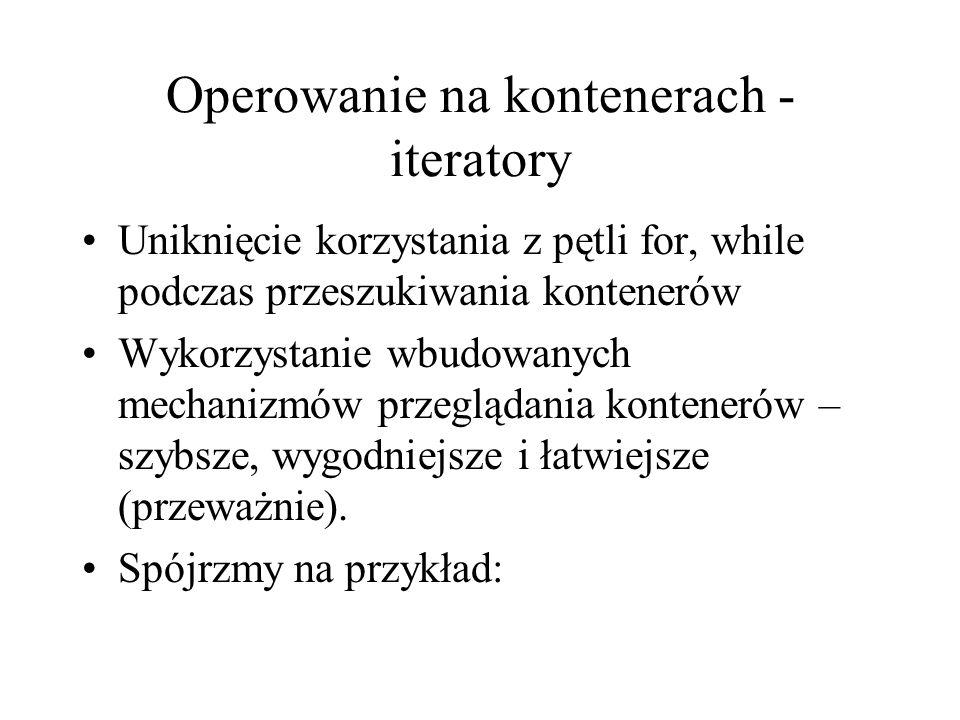 Operowanie na kontenerach - iteratory
