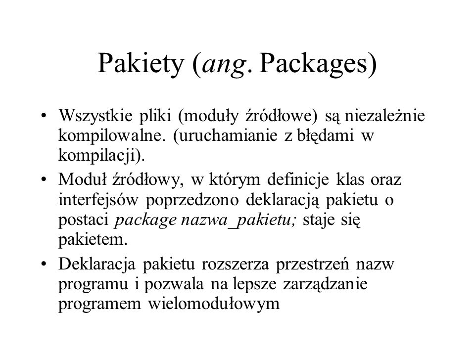 Pakiety (ang. Packages)