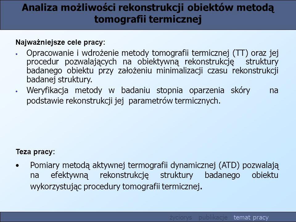 Analiza możliwości rekonstrukcji obiektów metodą tomografii termicznej