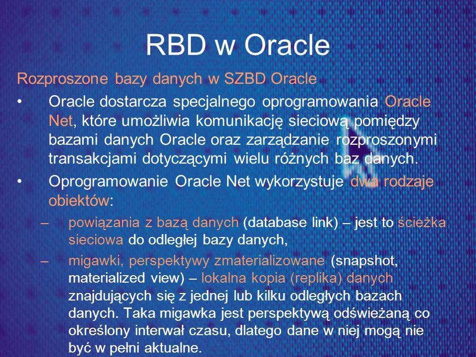 RBD w Oracle Rozproszone bazy danych w SZBD Oracle
