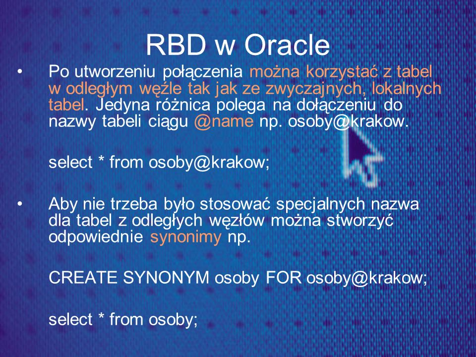 RBD w Oracle