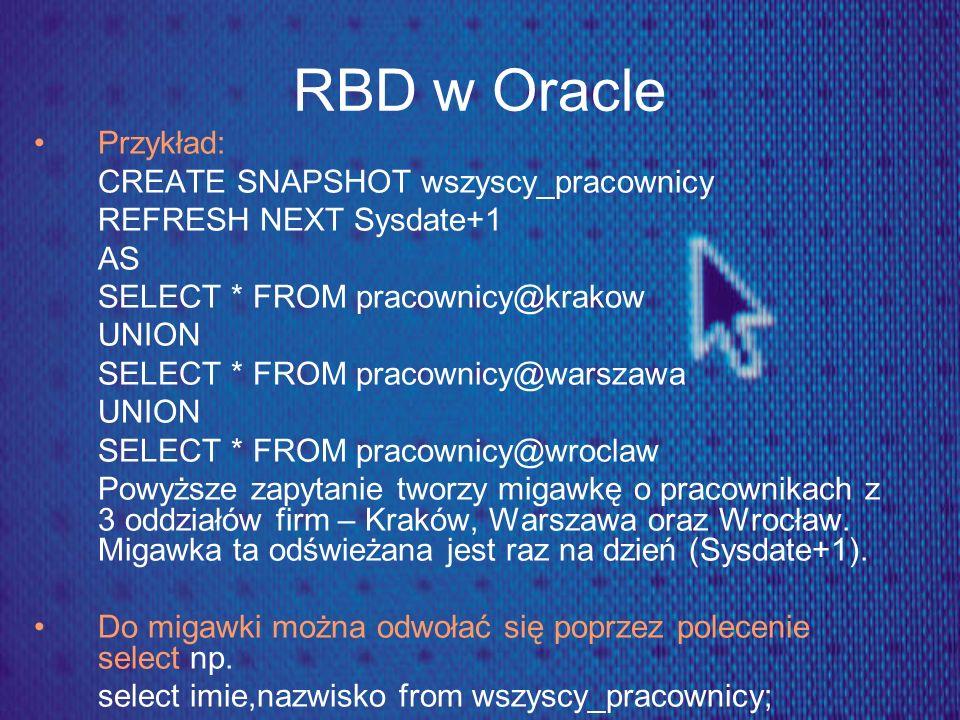 RBD w Oracle Przykład: CREATE SNAPSHOT wszyscy_pracownicy
