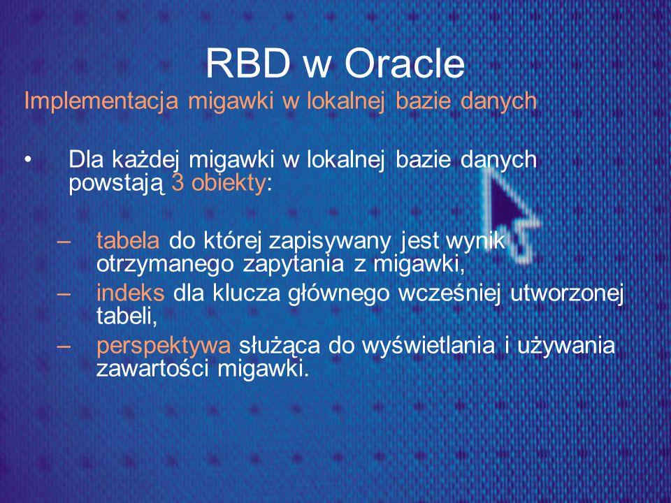 RBD w Oracle Implementacja migawki w lokalnej bazie danych