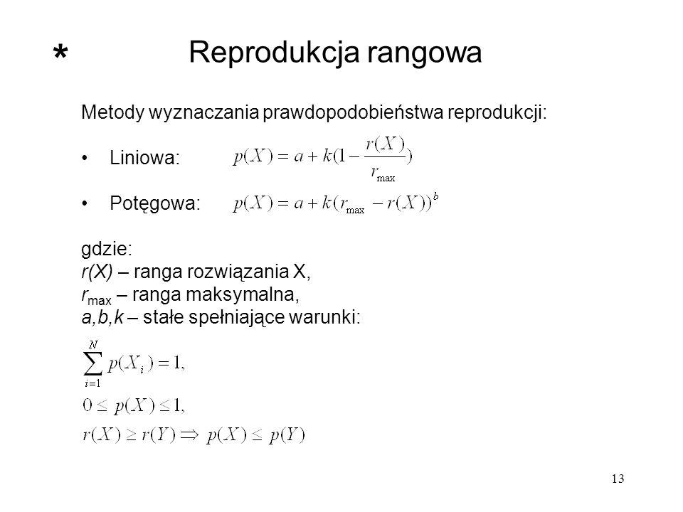 Reprodukcja rangowa * Metody wyznaczania prawdopodobieństwa reprodukcji: Liniowa: Potęgowa: gdzie: