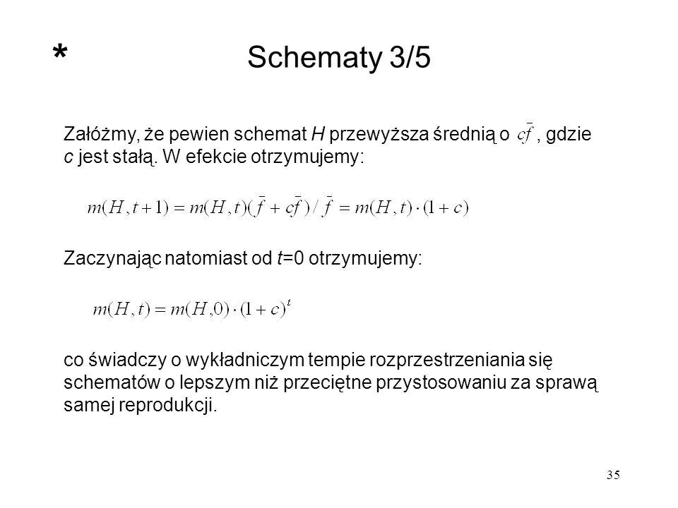* Schematy 3/5. Załóżmy, że pewien schemat H przewyższa średnią o , gdzie c jest stałą. W efekcie otrzymujemy:
