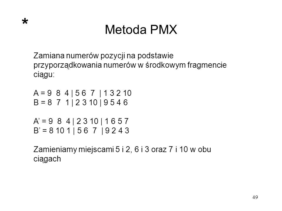 * Metoda PMX. Zamiana numerów pozycji na podstawie przyporządkowania numerów w środkowym fragmencie ciągu: