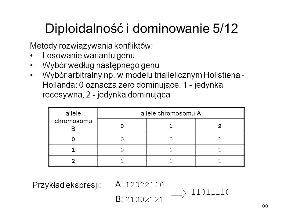 Diploidalność i dominowanie 5/12