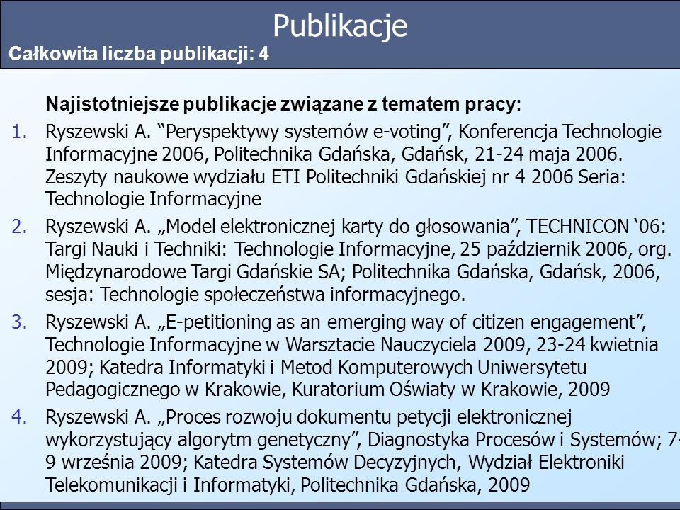 Publikacje Całkowita liczba publikacji: 4