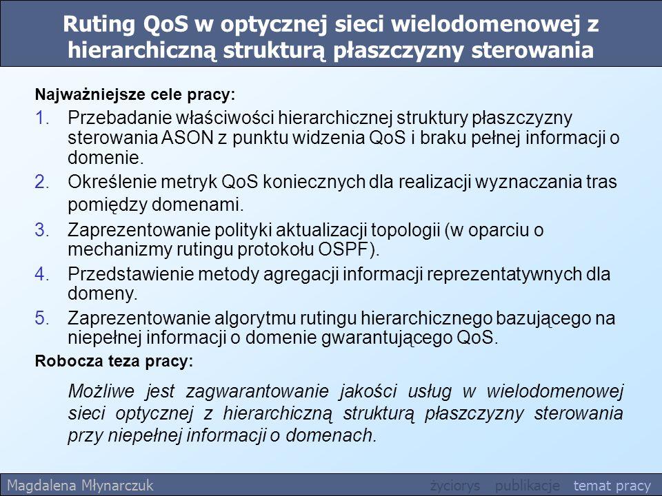 Ruting QoS w optycznej sieci wielodomenowej z hierarchiczną strukturą płaszczyzny sterowania