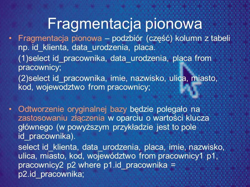 Fragmentacja pionowa Fragmentacja pionowa – podzbiór (część) kolumn z tabeli np. id_klienta, data_urodzenia, placa.