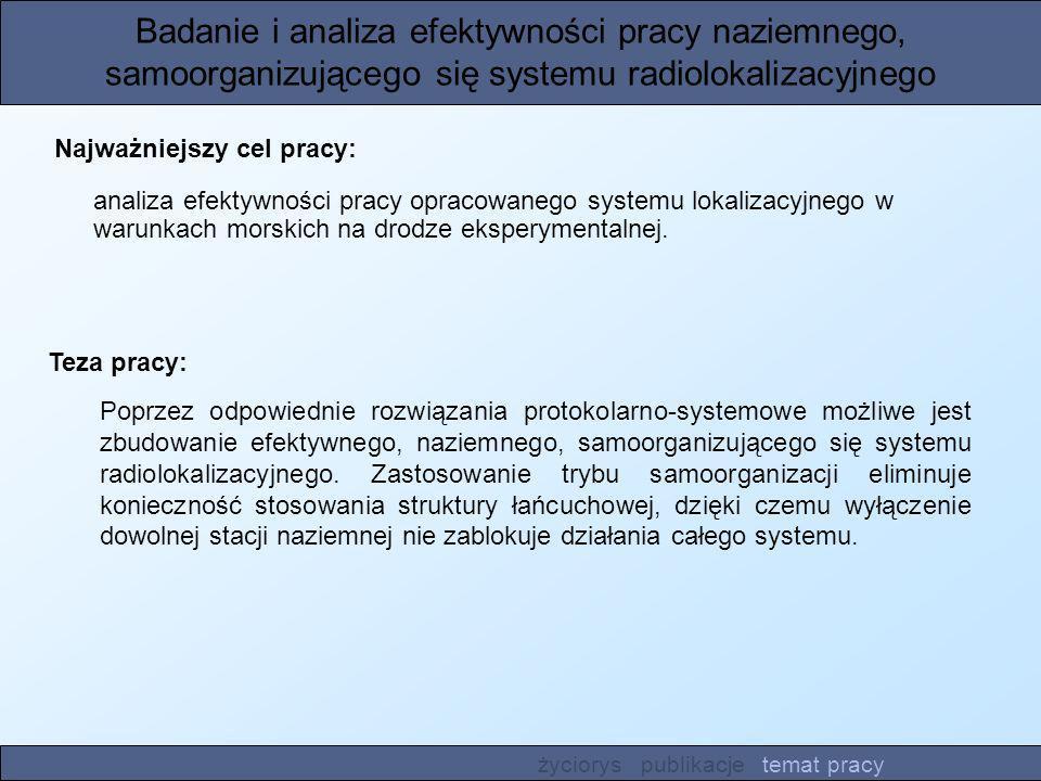 Badanie i analiza efektywności pracy naziemnego, samoorganizującego się systemu radiolokalizacyjnego