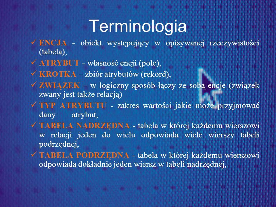 TerminologiaENCJA - obiekt występujący w opisywanej rzeczywistości (tabela), ATRYBUT - własność encji (pole),