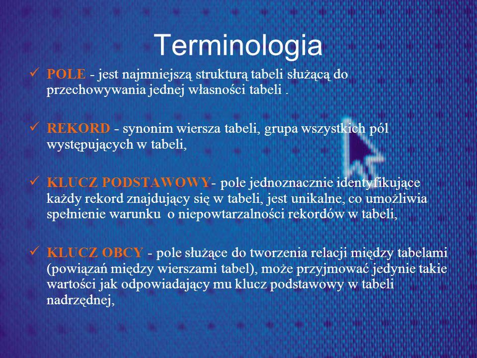 Terminologia POLE - jest najmniejszą strukturą tabeli służącą do przechowywania jednej własności tabeli .