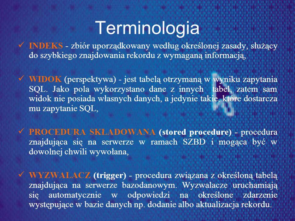 Terminologia INDEKS - zbiór uporządkowany według określonej zasady, służący do szybkiego znajdowania rekordu z wymaganą informacją,