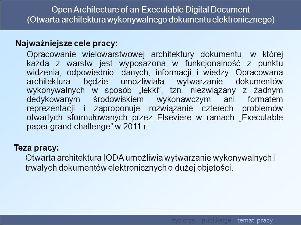 Open Architecture of an Executable Digital Document