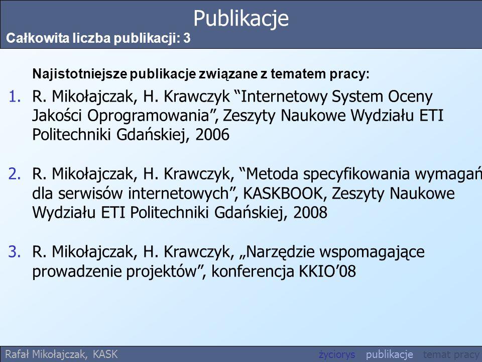 Publikacje Całkowita liczba publikacji: 3. Najistotniejsze publikacje związane z tematem pracy: