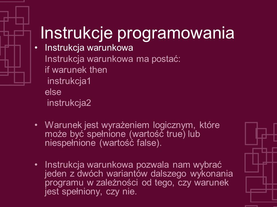 Instrukcje programowania