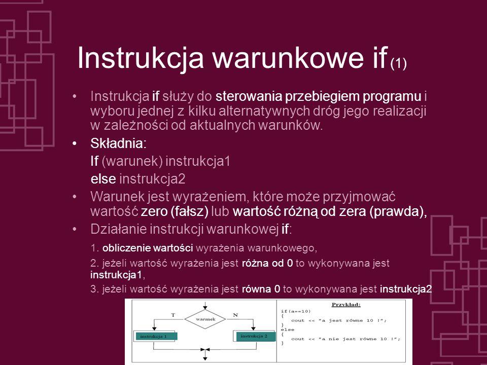 Instrukcja warunkowe if (1)