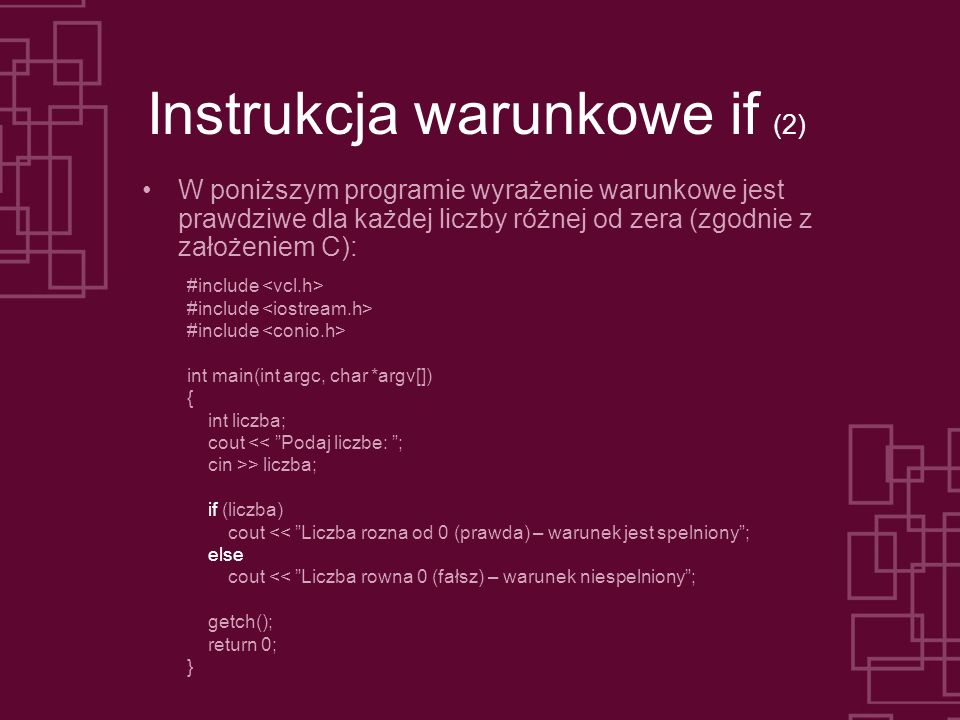 Instrukcja warunkowe if (2)