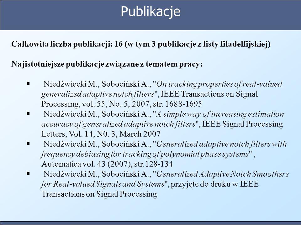 Publikacje Całkowita liczba publikacji: 16 (w tym 3 publikacje z listy filadelfijskiej) Najistotniejsze publikacje związane z tematem pracy: