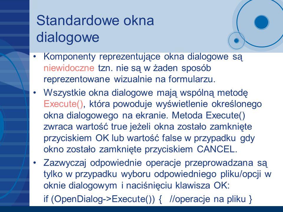 Standardowe okna dialogowe