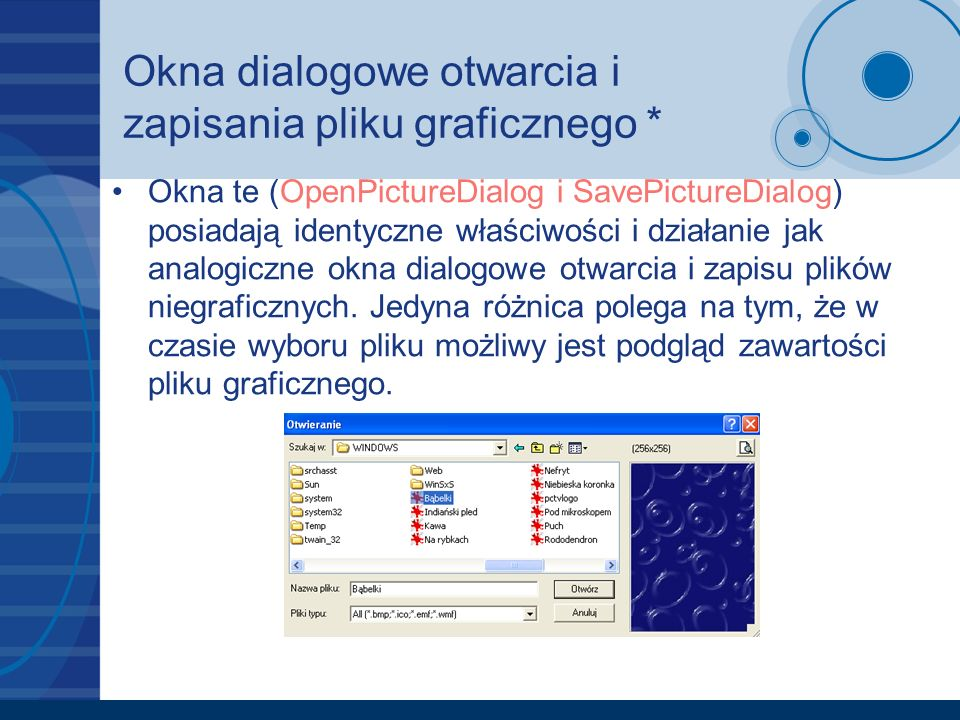 Okna dialogowe otwarcia i zapisania pliku graficznego *