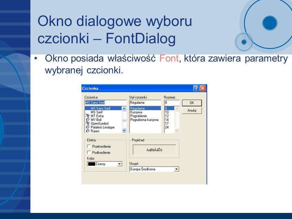 Okno dialogowe wyboru czcionki – FontDialog