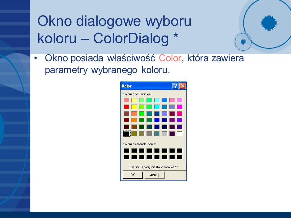Okno dialogowe wyboru koloru – ColorDialog *