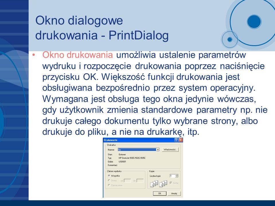Okno dialogowe drukowania - PrintDialog