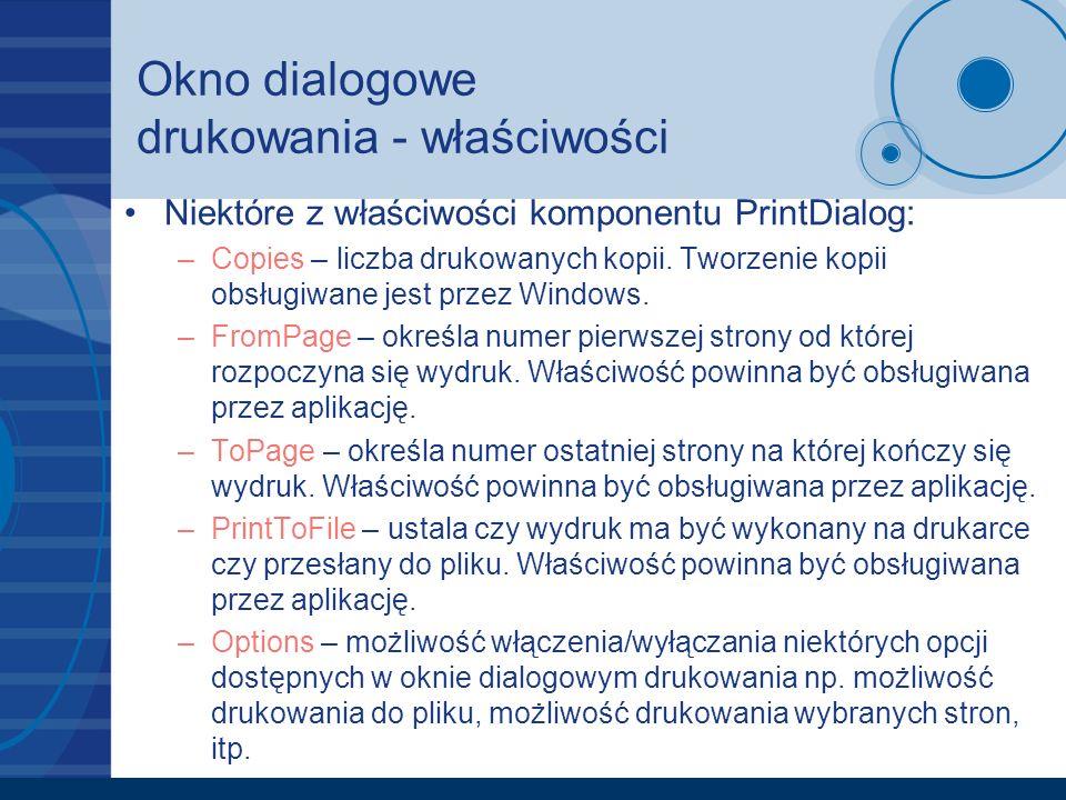 Okno dialogowe drukowania - właściwości