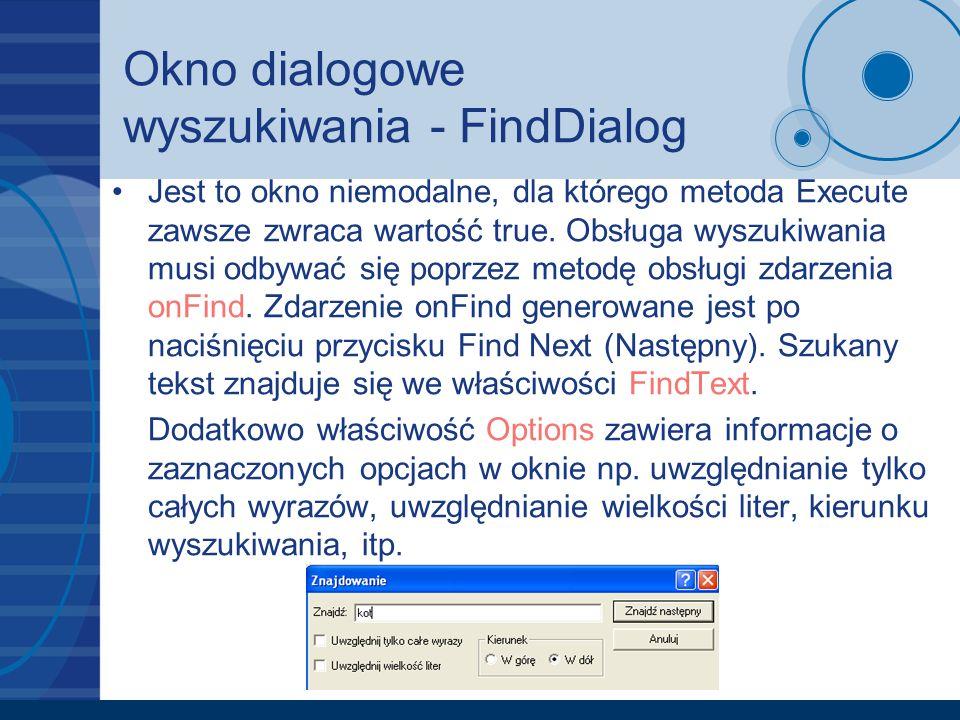 Okno dialogowe wyszukiwania - FindDialog