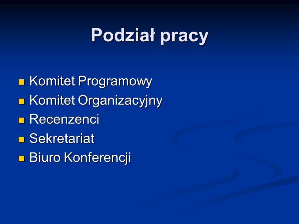Podział pracy Komitet Programowy Komitet Organizacyjny Recenzenci