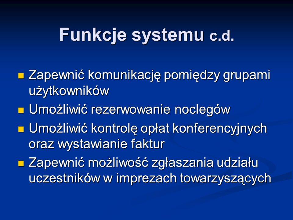 Funkcje systemu c.d.Zapewnić komunikację pomiędzy grupami użytkowników. Umożliwić rezerwowanie noclegów.