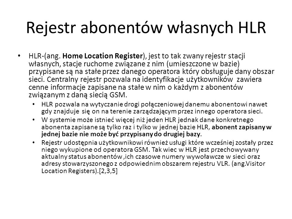 Rejestr abonentów własnych HLR