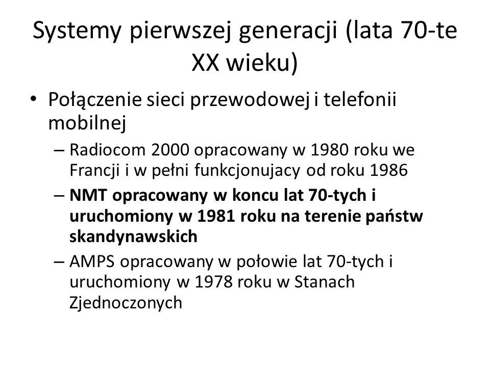 Systemy pierwszej generacji (lata 70-te XX wieku)