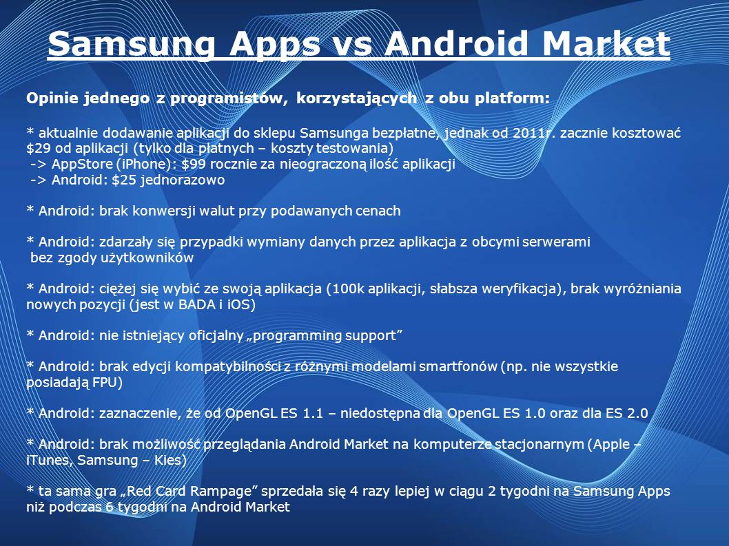 Samsung Apps vs Android Market