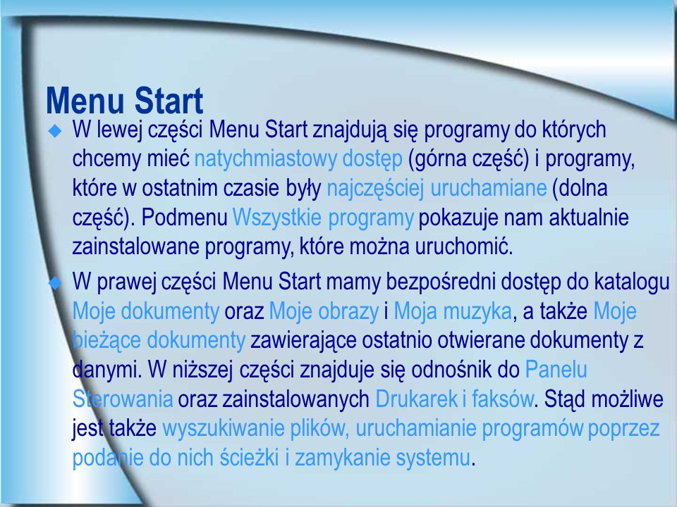 Menu Start