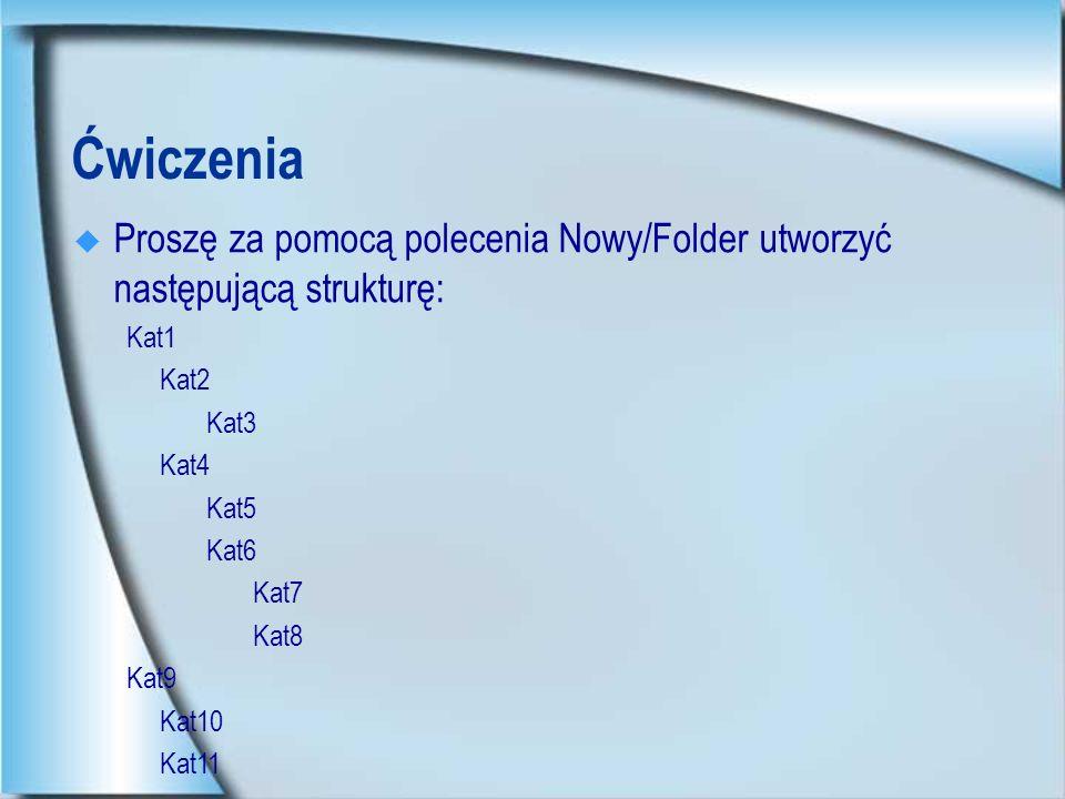 Ćwiczenia Proszę za pomocą polecenia Nowy/Folder utworzyć następującą strukturę: Kat1. Kat2. Kat3.