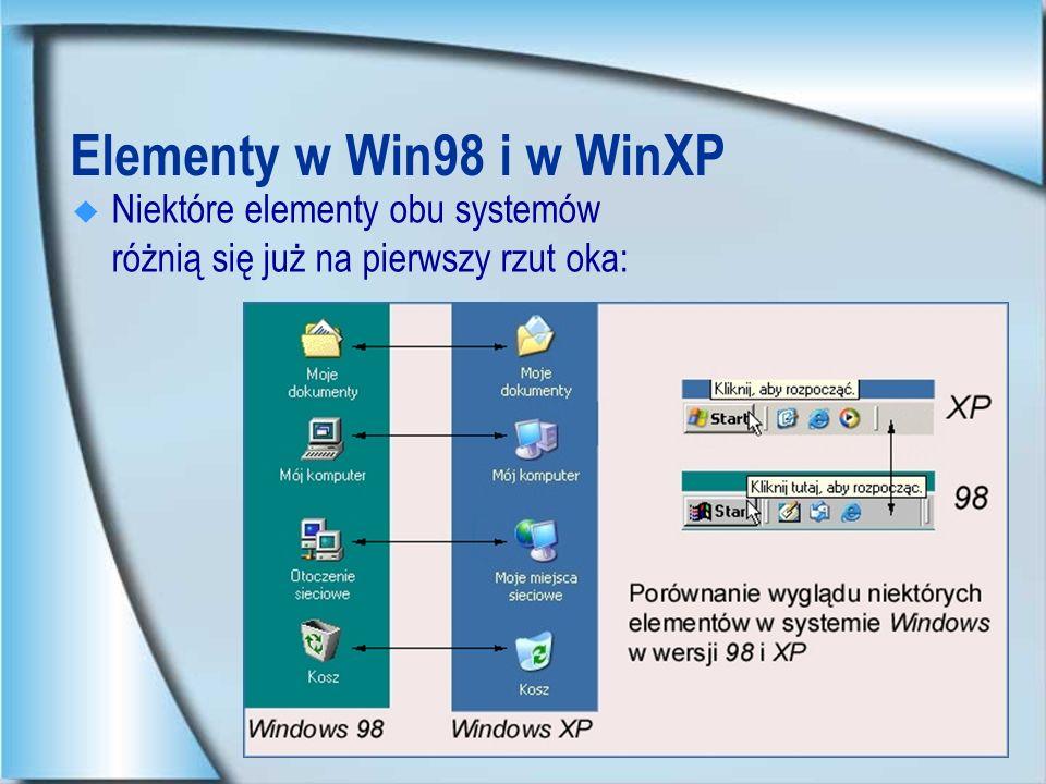 Elementy w Win98 i w WinXP Niektóre elementy obu systemów różnią się już na pierwszy rzut oka: