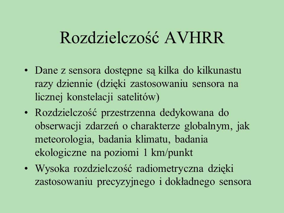 Rozdzielczość AVHRR Dane z sensora dostępne są kilka do kilkunastu razy dziennie (dzięki zastosowaniu sensora na licznej konstelacji satelitów)