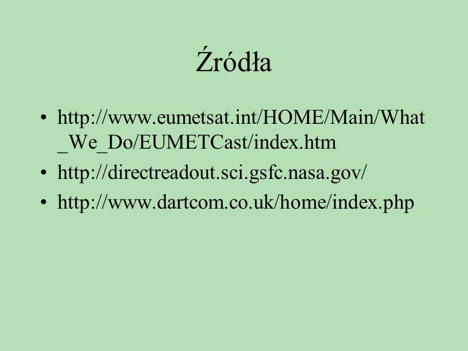Źródła http://www.eumetsat.int/HOME/Main/What_We_Do/EUMETCast/index.htm. http://directreadout.sci.gsfc.nasa.gov/