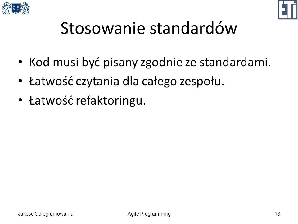 Stosowanie standardów