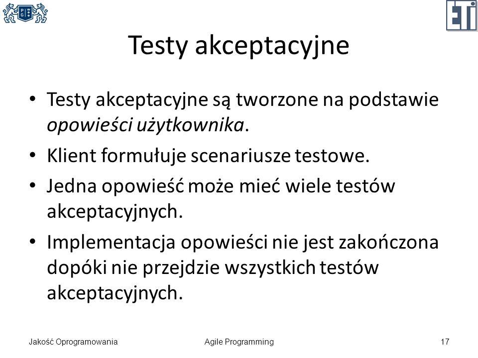 Testy akceptacyjne Testy akceptacyjne są tworzone na podstawie opowieści użytkownika. Klient formułuje scenariusze testowe.