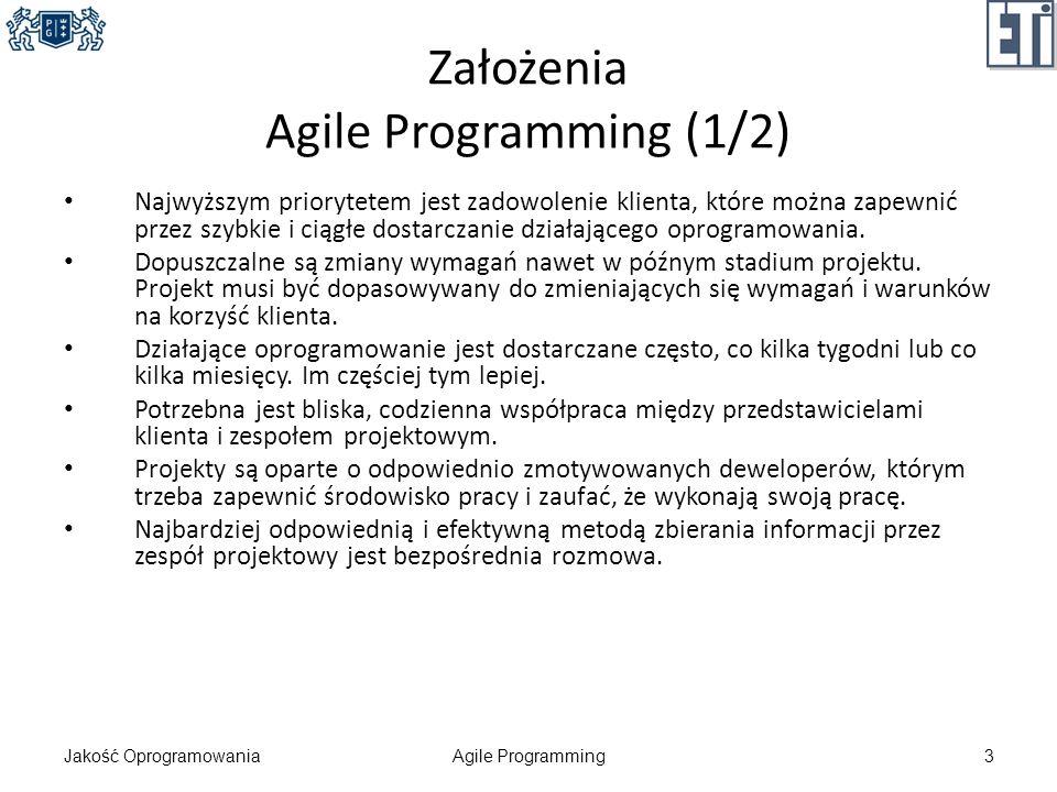 Założenia Agile Programming (1/2)