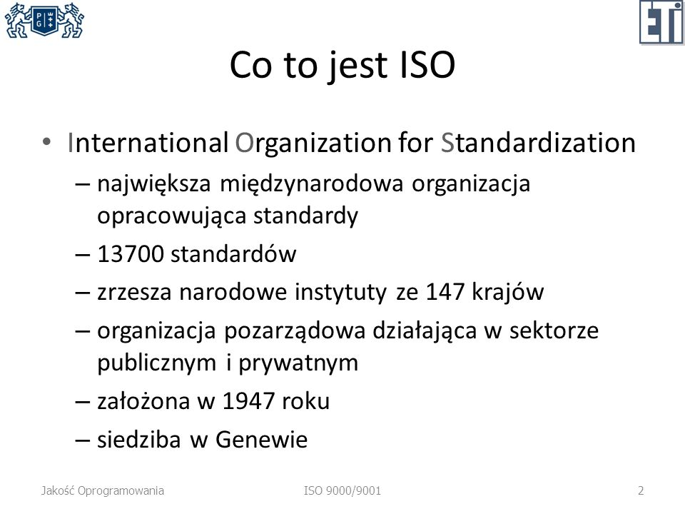 Co to jest ISO International Organization for Standardization