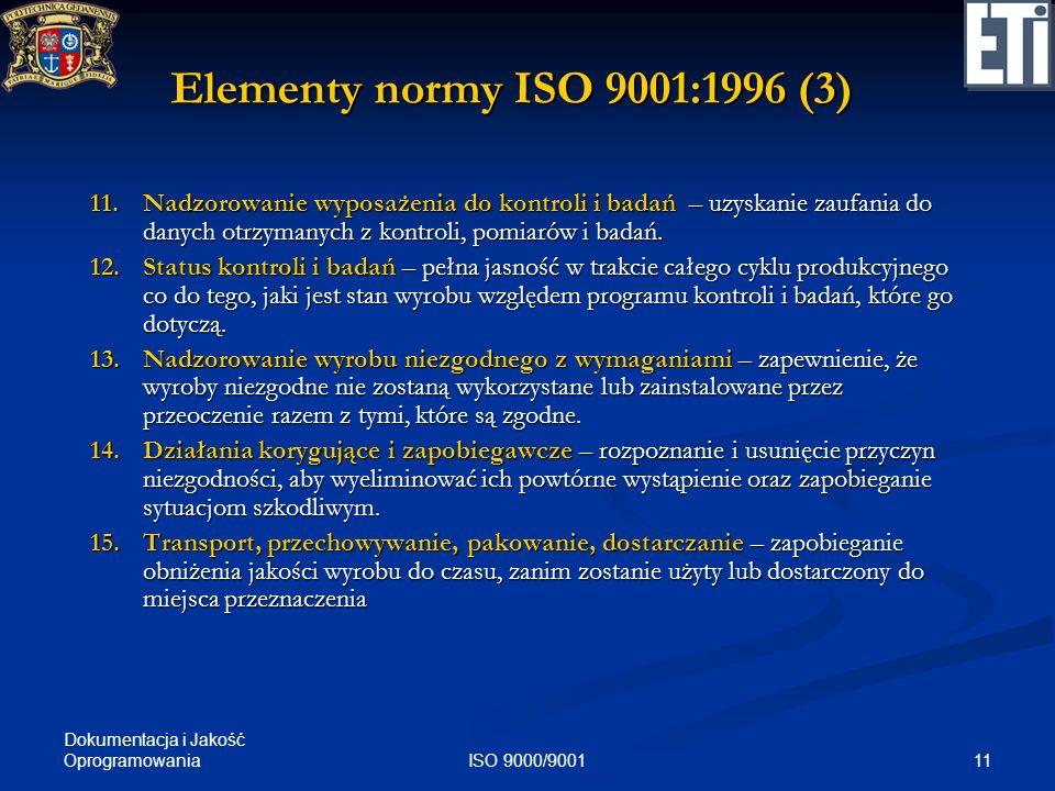 Elementy normy ISO 9001:1996 (3)