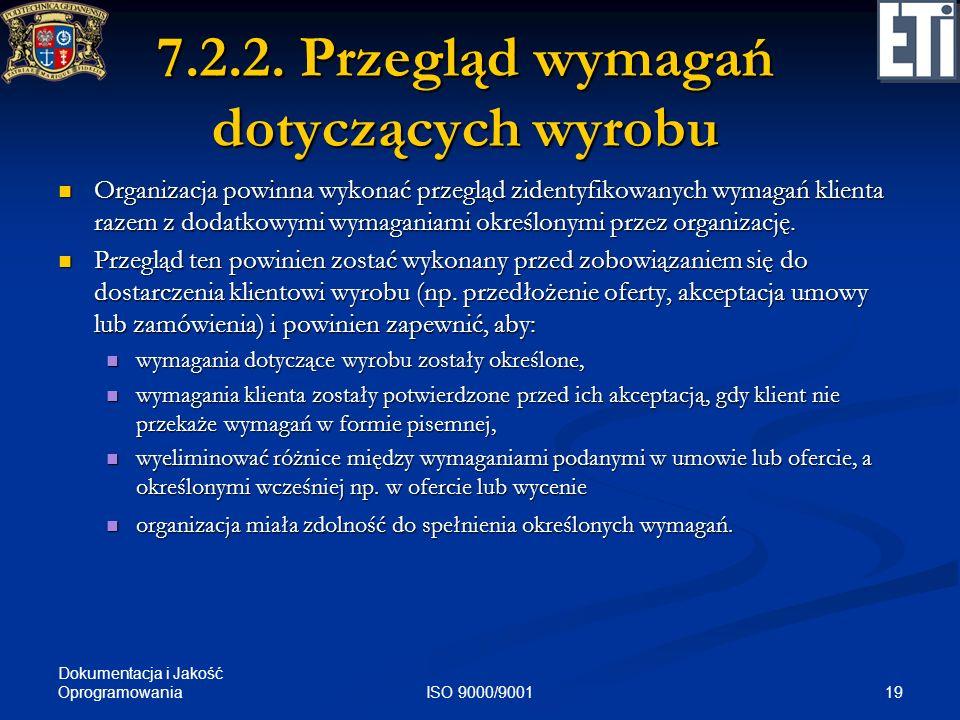 7.2.2. Przegląd wymagań dotyczących wyrobu