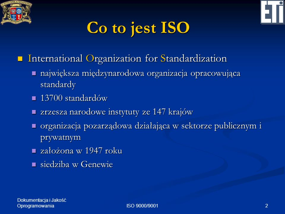 Co to jest ISO International Organization for Standardization