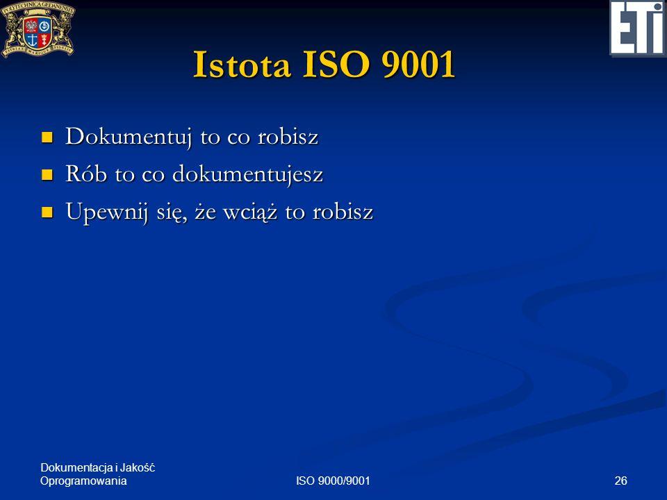 Istota ISO 9001 Dokumentuj to co robisz Rób to co dokumentujesz