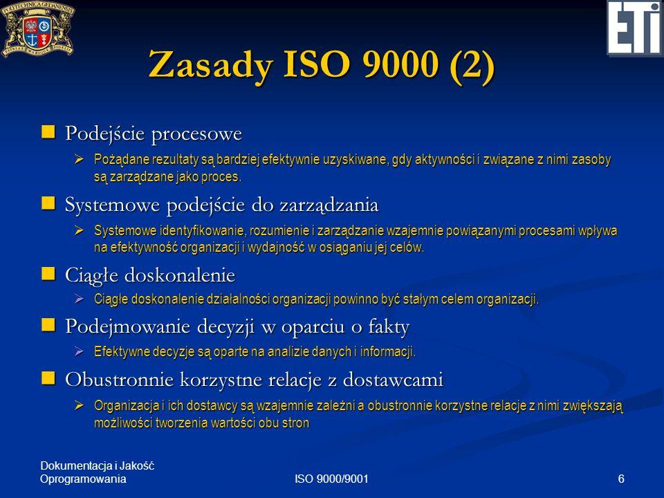Zasady ISO 9000 (2) Podejście procesowe